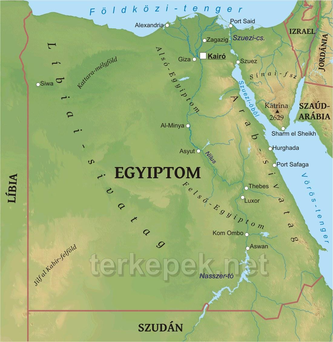 egyiptom térkép Egyiptom domborzati térképe egyiptom térkép